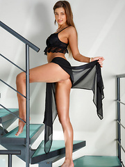 Melena A strips on the stairs as she bares her lusty body. - Erotic and nude girls pics at SoloTeenPics.com