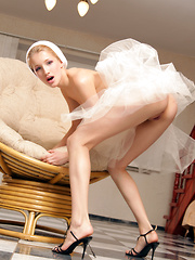 Teen ballerina shows the most fetching spots of her body on camera.