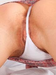Upskirt Views of Beatrice's Hairy Pussy