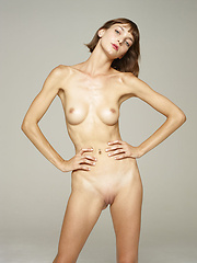 Skinny fashion girl showing her nude body