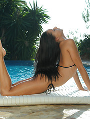 Stunning gymnast Mira strips out of black bikini, stretches, flexes and cums for you - Erotic and nude girls pics at SoloTeenPics.com