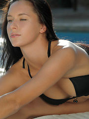 Stunning gymnast Mira strips out of black bikini, stretches, flexes and cums for you