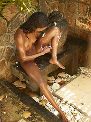 Super skinny ebony girl shaving her bronzed legs and pussy - Erotic and nude girls pics at SoloTeenPics.com