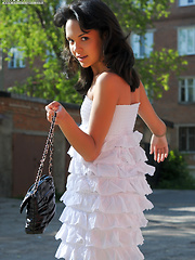 Adorable dark haired teen chick demonstrating her excellent body under white dress outdoors. - Erotic and nude girls pics at SoloTeenPics.com