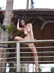 Cute girl posing naked outdoors