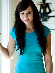 Brunette babe Natasha in bright blue shirt