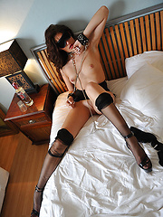 Skinny girl in stockings acts in a hot fetish scene - Erotic and nude girls pics at SoloTeenPics.com