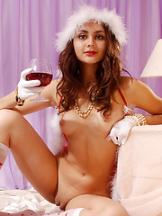 Absolutely perfect shapely Snow-maiden in sweet socks spreading legs while drinking wine. - Erotic and nude girls pics at SoloTeenPics.com