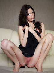 Zsanett Tormay gives a glimpse of her dual personality, from a sweet, girl-next-door vibe with the charming smile, to the daring, sultry vixen in a elegant sexy black dress. - Erotic and nude girls pics at SoloTeenPics.com