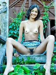 Chandra hairy bush compliments her natural and youthful appeal, and carefree beauty as she strips her blue-dotted dress and lounge under the golden afternoon sun. - Erotic and nude girls pics at SoloTeenPics.com