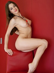 Lusty brunette in erotic poses and provocative smile.