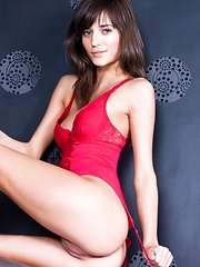 Seductive brunette in sizzling hot red lace lingerie. - Erotic and nude girls pics at SoloTeenPics.com
