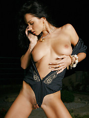 Superstar Jenya in hot black outfit, then with nothing at all. - Erotic and nude girls pics at SoloTeenPics.com