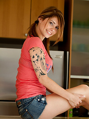Brown-haired teen babe