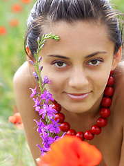 Sima enjoys a relaxing weekend,   sunbathing among the flowery fields for   her debut series. - Erotic and nude girls pics at SoloTeenPics.com