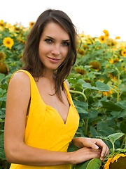 Semmi strips her yellow sexy dress and   dazzles us with her voluptuous body   with super smooth and fair skin, puffy large breasts, and her alluring blue eyes in the sunflower field.