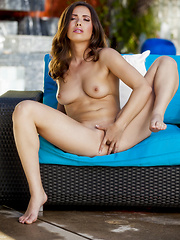 Casey Calvert touches her smooth inner thighs - Erotic and nude girls pics at SoloTeenPics.com