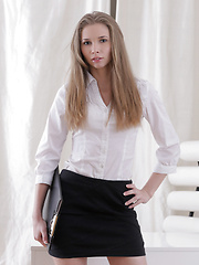 Stunning nubile Kortny gets horny in the office