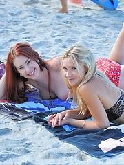 Melody and Lena beach lesbians - Erotic and nude girls pics at SoloTeenPics.com
