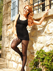 Lucy Anne in her tight black dress and stockings