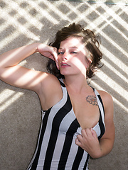 Hannah Kinney white stripes - Erotic and nude girls pics at SoloTeenPics.com