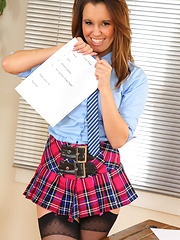 Michelle teaches a lesson in school uniform & mini skirt - Erotic and nude girls pics at SoloTeenPics.com
