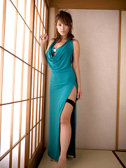 Ayaka Noda Asian shows sexy legs and ass under long blue dress - Erotic and nude girls pics at SoloTeenPics.com