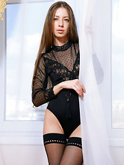 Blue-eyed darling Mika A with long brown hair, long and slender physique, and perky assets - Erotic and nude girls pics at SoloTeenPics.com
