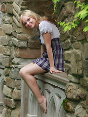 Feeona A dazzles you with the little school girl look. Outfitted in a blue plaid dress with a little white bodice and no panties she shows off her perfect petite body. - Erotic and nude girls pics at SoloTeenPics.com