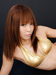 Sayuri Ono Asian touches her hot curves over golden lingerie - Erotic and nude girls pics at SoloTeenPics.com