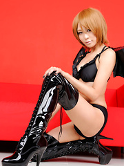 Sayuri Ono Asian is lustful bat girl in latex boots and lingerie - Erotic and nude girls pics at SoloTeenPics.com
