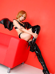Sayuri Ono Asian spreads legs in long boots and shows panty - Erotic and nude girls pics at SoloTeenPics.com