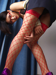 Noriko Kijima Asian is erotic doctor with red fishnets and specs - Erotic and nude girls pics at SoloTeenPics.com