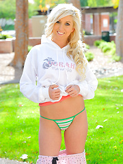 Callie blonde and naked outside