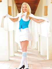 Nikkie in a school girl outfit pulls her labia hard - Erotic and nude girls pics at SoloTeenPics.com