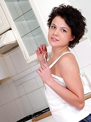 Short haired brunette teenager often plays with herself - Erotic and nude girls pics at SoloTeenPics.com