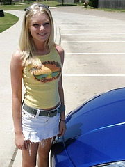 Blonde teen Skye Model shows off her tight teen body by her friends car - Erotic and nude girls pics at SoloTeenPics.com