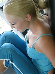 Petite blonde teen Skye keeps in shape while working out at the gym