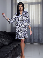 Charming Branna A smiling sweetly as she undresses her animal-print dress - Erotic and nude girls pics at SoloTeenPics.com