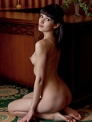 Alluring and tempting with seductive   face framed by well-cropped bangs,   poses sensually showcasing Luiza's   athletic build, enviable long limbs,   and perky nipples.