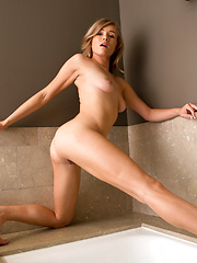 Sexy coed with big perky nipples rubs her soft twat in the bath - Erotic and nude girls pics at SoloTeenPics.com