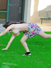 Leila does cartwheels topless outside - Erotic and nude girls pics at SoloTeenPics.com