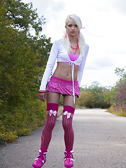 A great solo teasing in mind blowing pink lingerie, in the middle of the road done by this gorgeous slender teen angel.