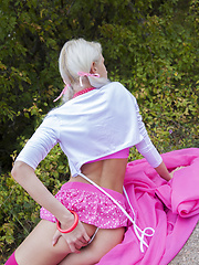 A great solo teasing in mind blowing pink lingerie, in the middle of the road done by this gorgeous slender teen angel. - Erotic and nude girls pics at SoloTeenPics.com