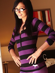Nerd lovers should love this gallery of a bespectacled Catie Minx  spreading her butt cheeks nice and wide