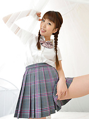 Mizuho Shiraishi Asian with pigtails and uniform sits with ass up - Erotic and nude girls pics at SoloTeenPics.com