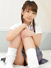 Mizuho Shiraishi Asian with pigtails is so playful in uniform - Erotic and nude girls pics at SoloTeenPics.com