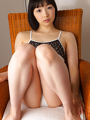 Kotone Moriyama Asian rubs her vagina in bath suit of chair edge - Erotic and nude girls pics at SoloTeenPics.com