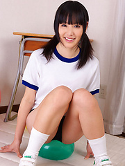 Yuri Hamada Asian in sports equipment plays with balloons a lot - Erotic and nude girls pics at SoloTeenPics.com