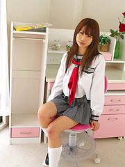 Satsuki Konichi Asian in uniform shows that she is not a good gal - Erotic and nude girls pics at SoloTeenPics.com